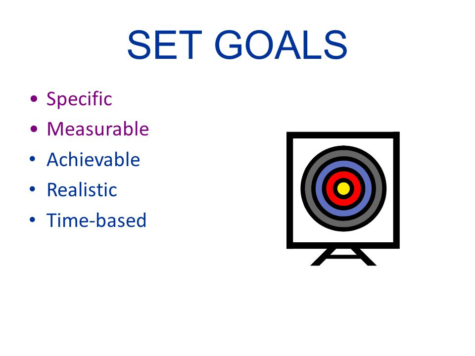 SET GOALS Specific Measurable Achievable Realistic Time-based