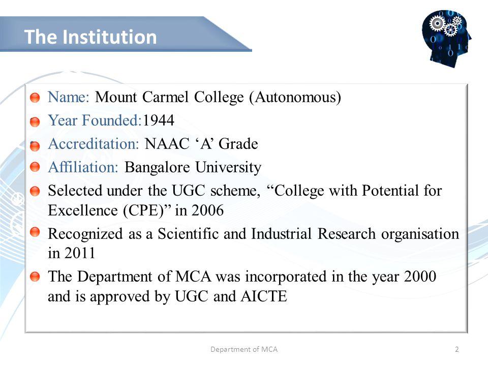 Department of MCA13