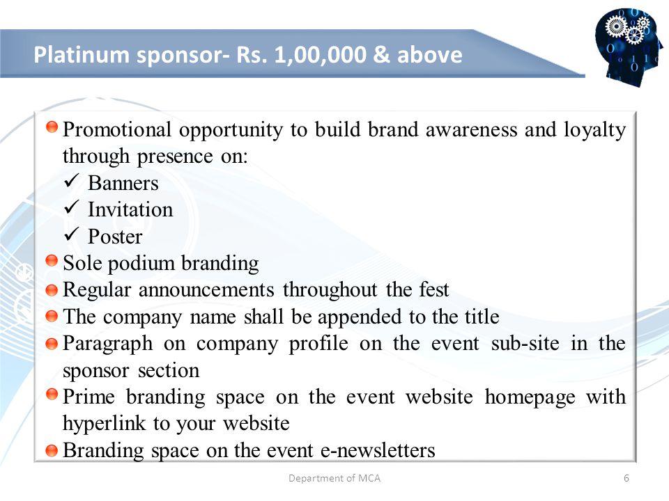 Diamond sponsor: Rs.50,000 - Rs.