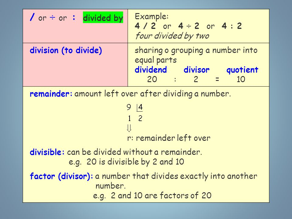/ or ÷ or : divided by Example: 4 / 2 or 4 ÷ 2 or 4 : 2 four divided by two division (to divide)sharing o grouping a number into equal parts dividend divisor quotient 20 : 2 = 10 remainder: amount left over after dividing a number.