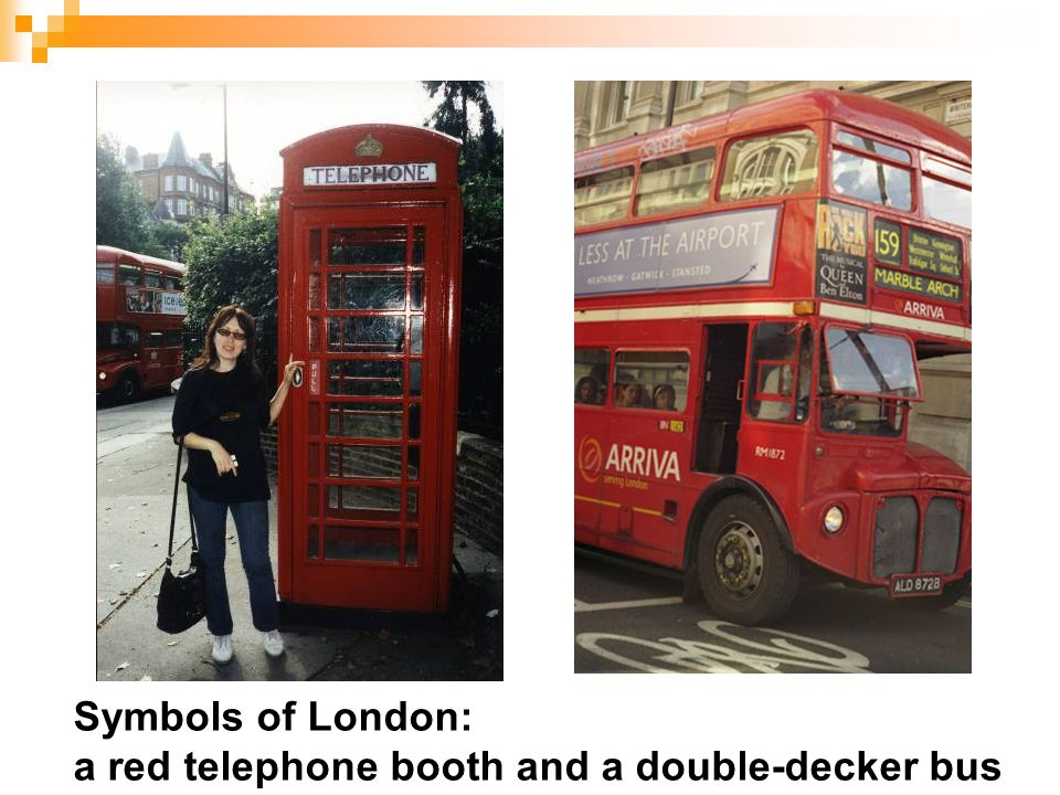 Symbols of London: a red telephone booth and a double-decker bus