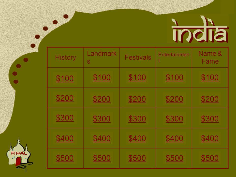 History Landmark s Festivals Entertainmen t Name & Fame $100 $400 $300 $200 $400 $200 $100 $400 $200 $500 $300 $200 $500 $100 $300 $100 $300 $500 $300 $400 $500