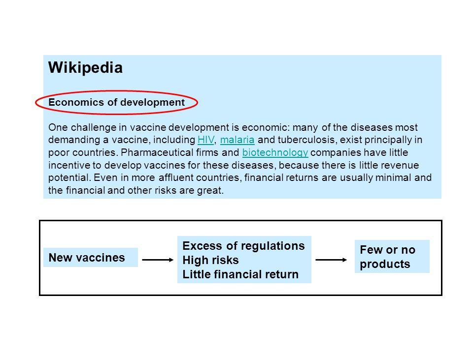 Wikipedia Economics of development One challenge in vaccine development is economic: many of the diseases most demanding a vaccine, including HIV, malaria and tuberculosis, exist principally in poor countries.