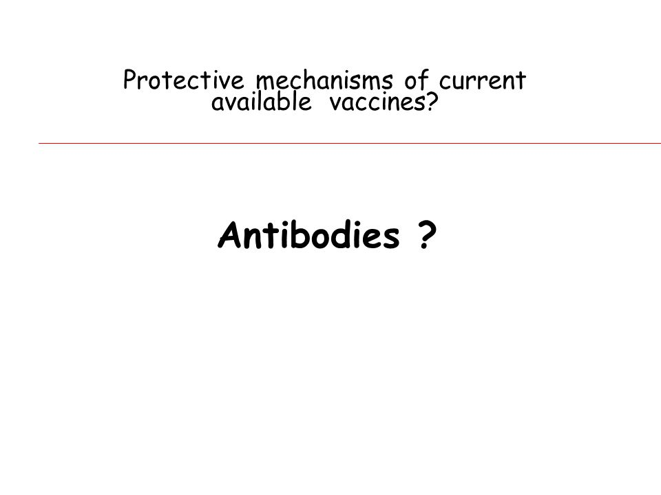 Protective mechanisms of current available vaccines Antibodies