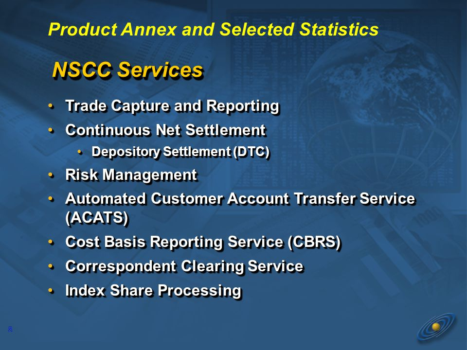 20 NSCC Services Trade Capture and ReportingTrade Capture and Reporting Continuous Net SettlementContinuous Net Settlement Depository Settlement (DTC)Depository Settlement (DTC) Risk ManagementRisk Management Automated Customer Account Transfer Service (ACATS)Automated Customer Account Transfer Service (ACATS) Cost Basis Reporting Service (CBRS)Cost Basis Reporting Service (CBRS) Correspondent Clearing ServiceCorrespondent Clearing Service Index Share ProcessingIndex Share Processing Trade Capture and ReportingTrade Capture and Reporting Continuous Net SettlementContinuous Net Settlement Depository Settlement (DTC)Depository Settlement (DTC) Risk ManagementRisk Management Automated Customer Account Transfer Service (ACATS)Automated Customer Account Transfer Service (ACATS) Cost Basis Reporting Service (CBRS)Cost Basis Reporting Service (CBRS) Correspondent Clearing ServiceCorrespondent Clearing Service Index Share ProcessingIndex Share Processing Product Annex and Selected Statistics
