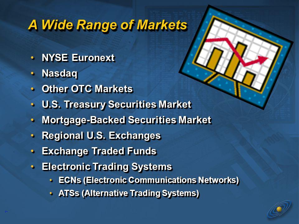 7 A Wide Range of Markets NYSE EuronextNYSE Euronext NasdaqNasdaq Other OTC MarketsOther OTC Markets U.S.