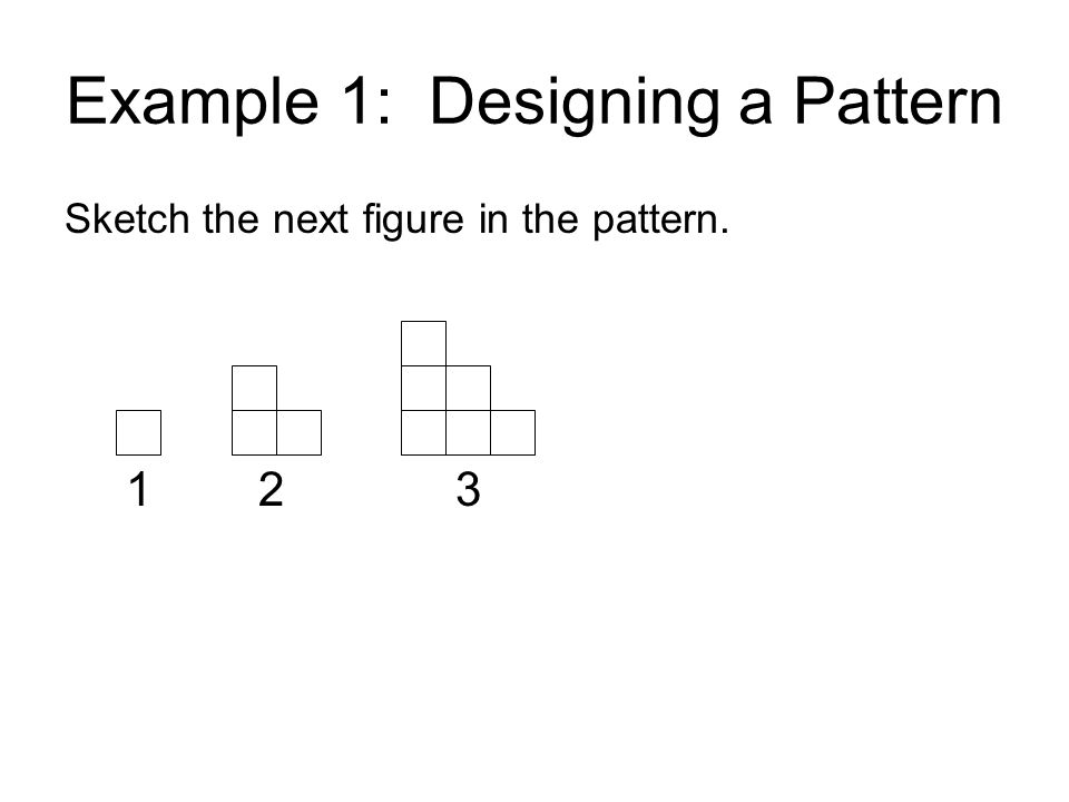 Example 1: Designing a Pattern Sketch the next figure in the pattern. 1 2 3