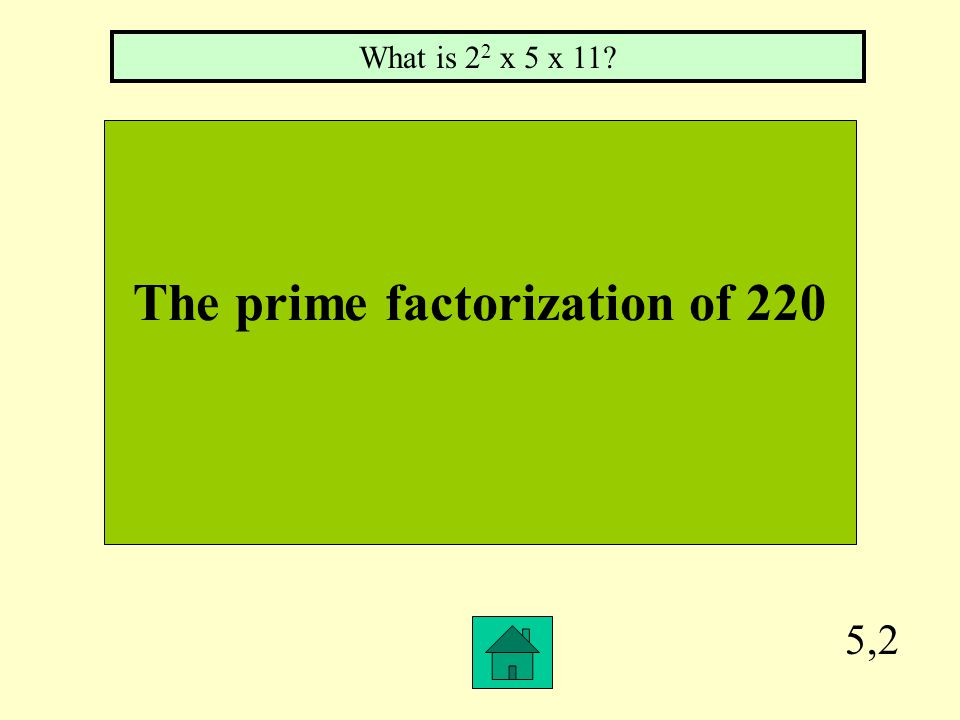 5,1 The unique way to write any composite number, such as: 2 x 3 x 5 or 2 2 x 7 What is the prime factorization