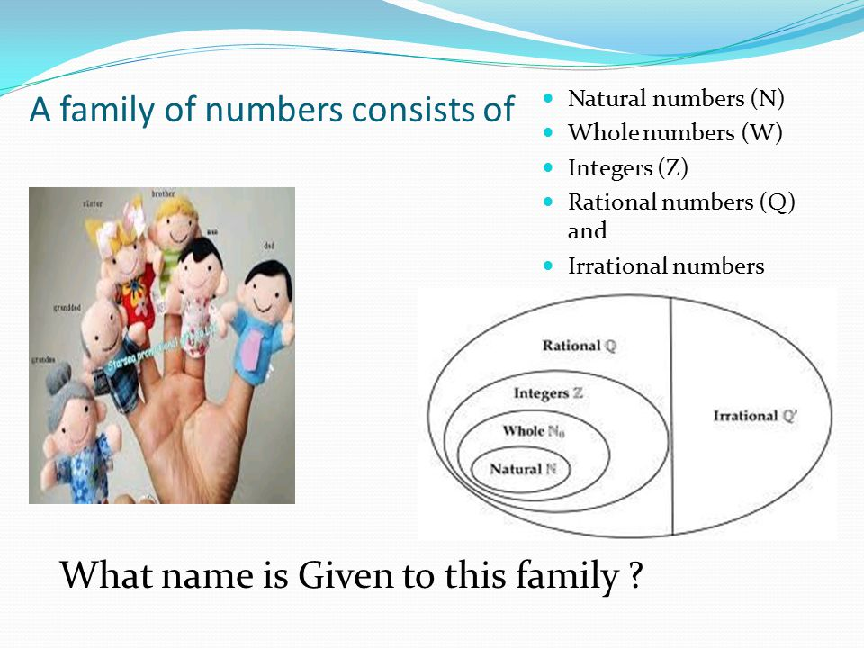 A family of numbers consists of Natural numbers (N) Whole numbers (W) Integers (Z) Rational numbers (Q) and Irrational numbers What name is Given to this family