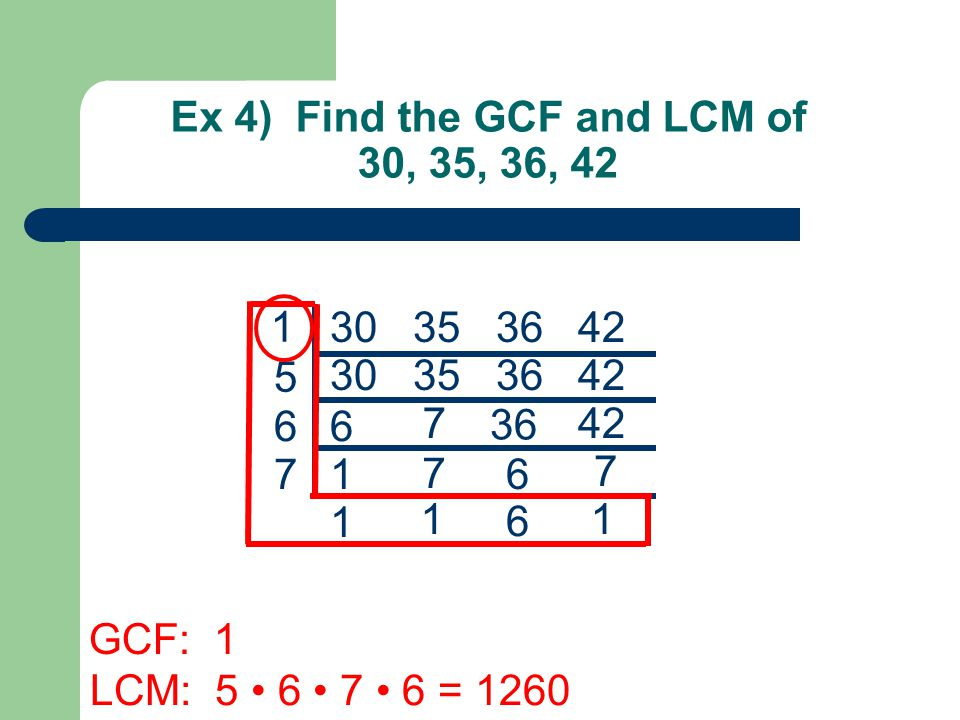 TOO: Find the GCF and LCM 1) 100, 120, 90 2) 32x 3 y 3, 120xy 4, 42x 2 y 3 Answers: 1) GCF: 10, LCM: 1800 2) GCF: 2xy 3, LCM: 3360x 3 y 4