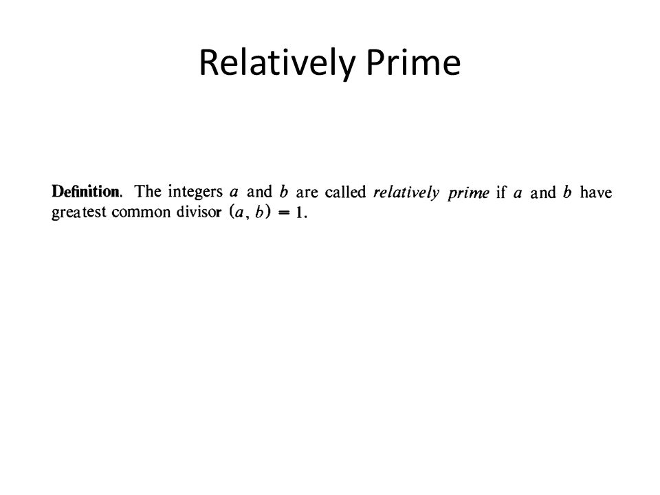 Relatively Prime
