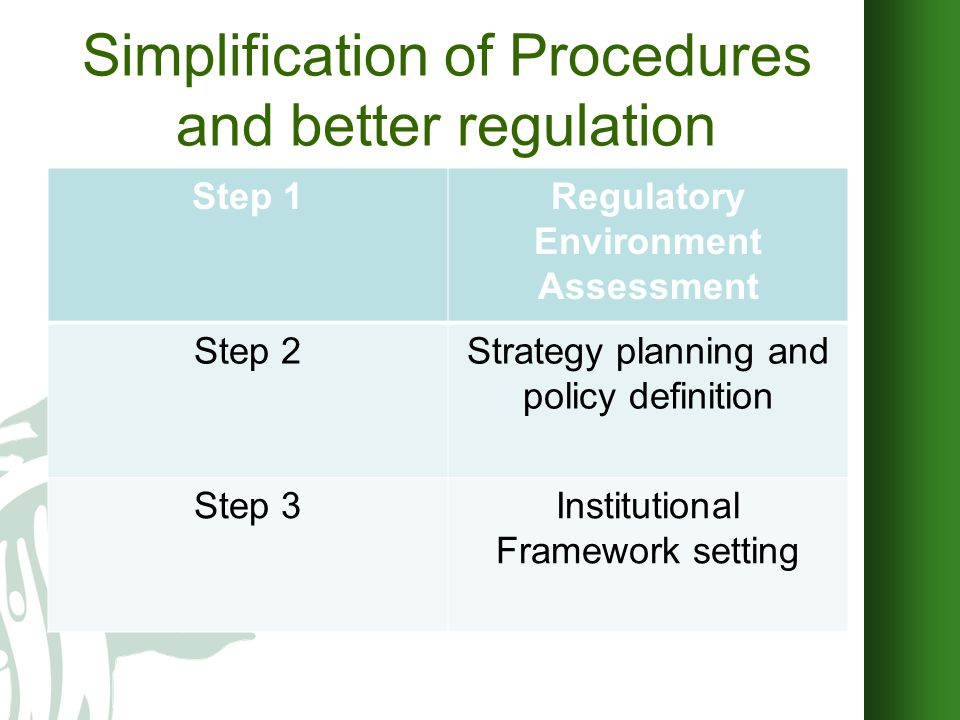 OBJECTIVES 1 Upgrading the quality of existing formalities and related regulations affecting both the relationship between citizens and the administration and the internal functioning of the public administration: More responsive administration Operating at reduced costs Clear from outdated and/or complex formalities Efficent and timely services deliveries