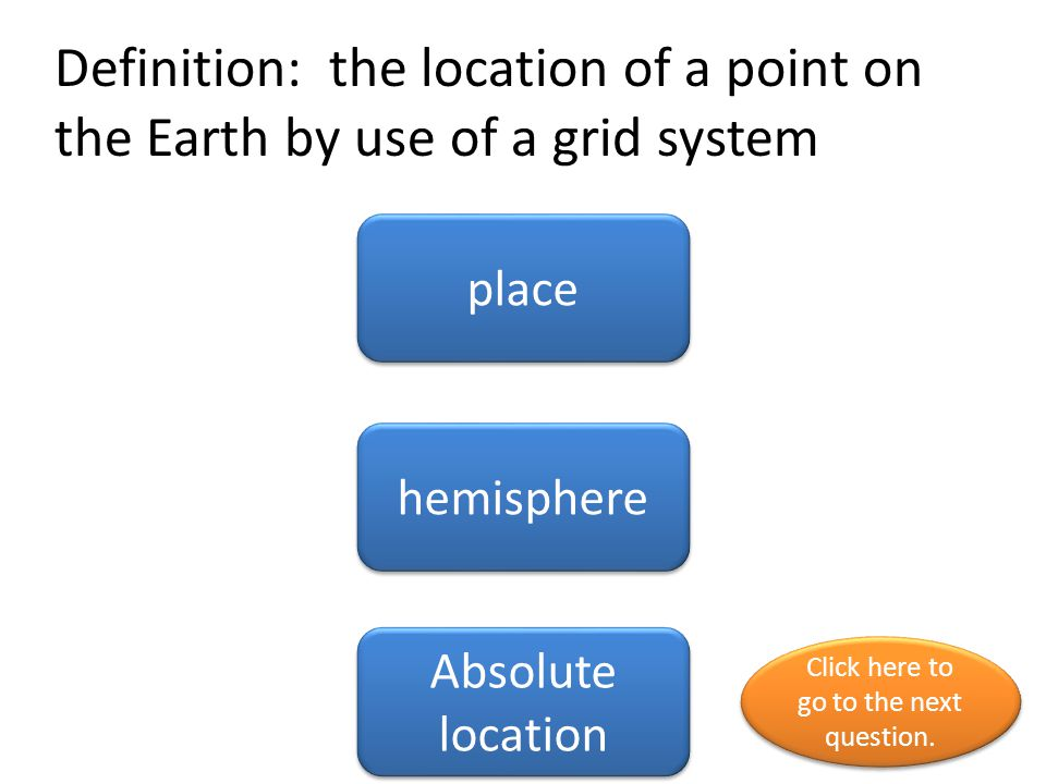 Definition: the location of a point on the Earth by use of a grid system place hemisphere Absolute location Click here to go to the next question. Cli