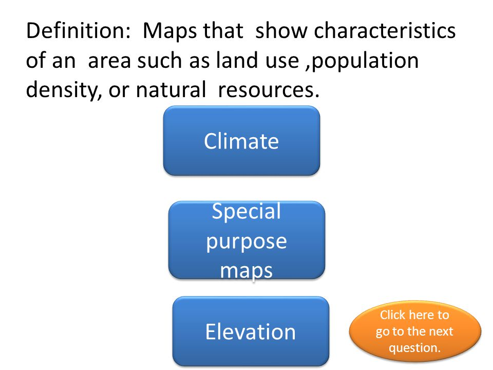 Definition: Maps that show characteristics of an area such as land use,population density, or natural resources. Climate Special purpose maps Elevatio