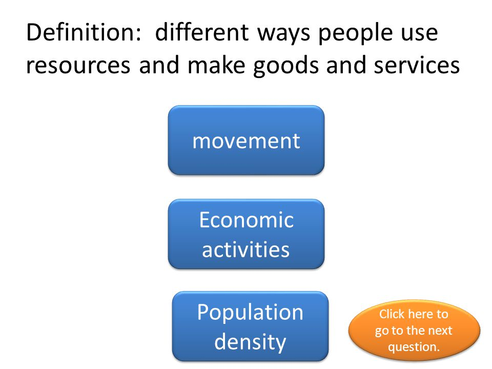 Definition: different ways people use resources and make goods and services movement Economic activities Population density Click here to go to the ne