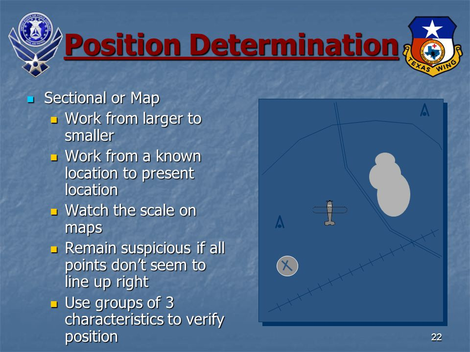 22 Position Determination Sectional or Map Sectional or Map Work from larger to smaller Work from larger to smaller Work from a known location to present location Work from a known location to present location Watch the scale on maps Watch the scale on maps Remain suspicious if all points don't seem to line up right Remain suspicious if all points don't seem to line up right Use groups of 3 characteristics to verify position Use groups of 3 characteristics to verify position