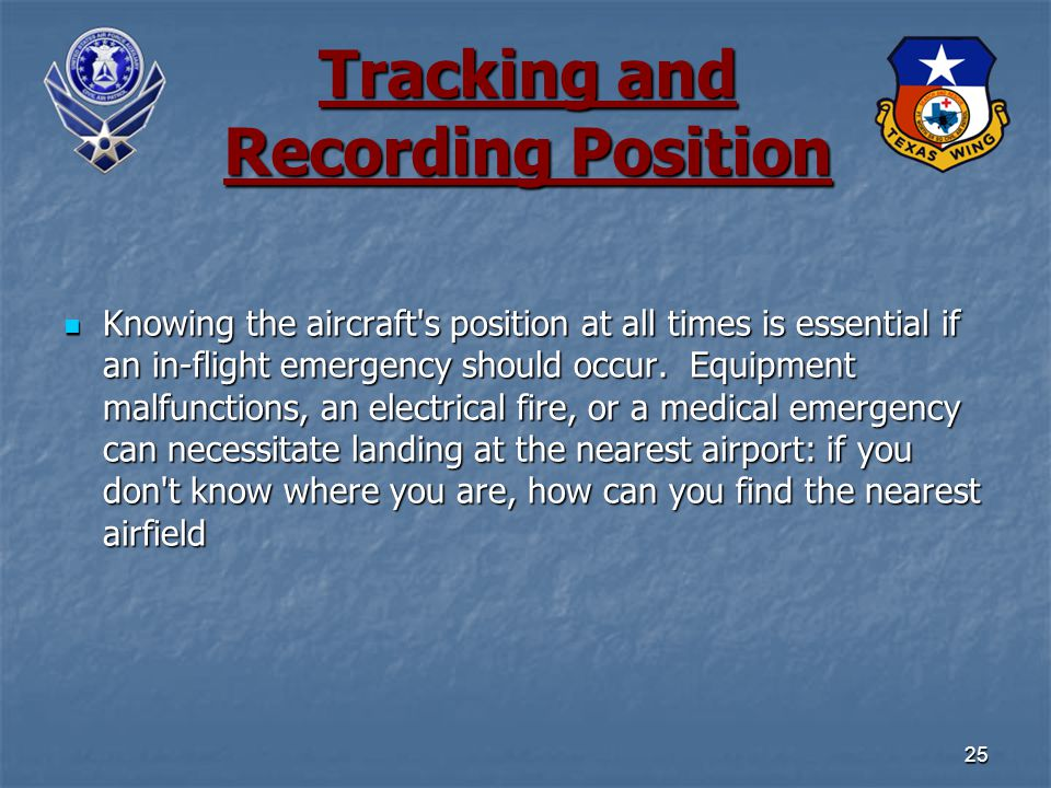 Knowing the aircraft s position at all times is essential if an in-flight emergency should occur.