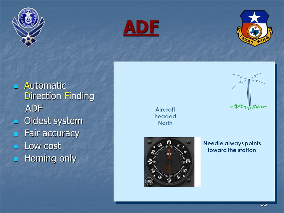 35 ADF Automatic Direction Finding Automatic Direction Finding ADF ADF Oldest system Oldest system Fair accuracy Fair accuracy Low cost Low cost Homing only Homing only Needle always points toward the station Aircraft headed North