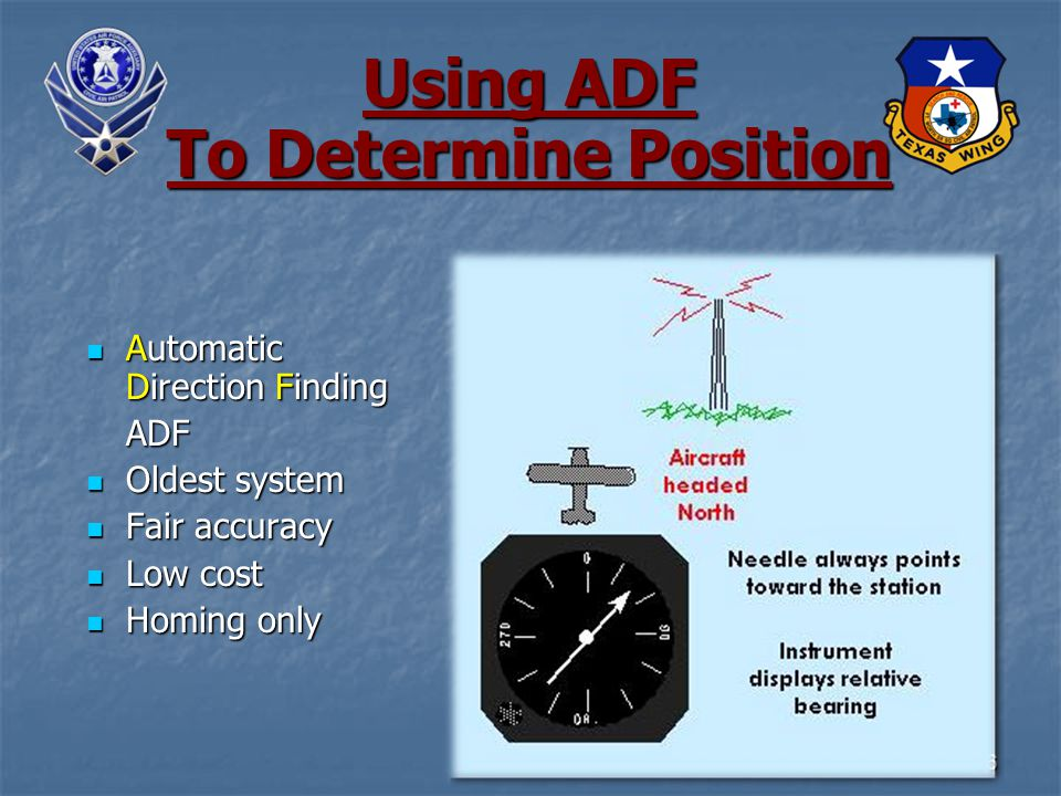 36 Using ADF To Determine Position Automatic Direction Finding Automatic Direction FindingADF Oldest system Oldest system Fair accuracy Fair accuracy Low cost Low cost Homing only Homing only