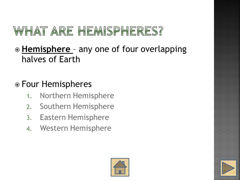  Hemisphere – any one of four overlapping halves of Earth  Four Hemispheres 1. Northern Hemisphere 2. Southern Hemisphere 3. Eastern Hemisphere 4. W
