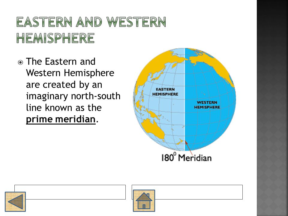  The Eastern and Western Hemisphere are created by an imaginary north-south line known as the prime meridian.