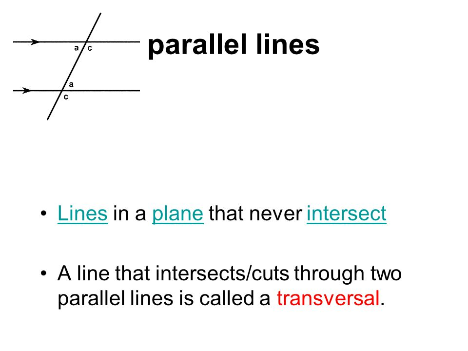 parallel lines Lines in a plane that never intersectLinesplaneintersect A line that intersects/cuts through two parallel lines is called a transversal