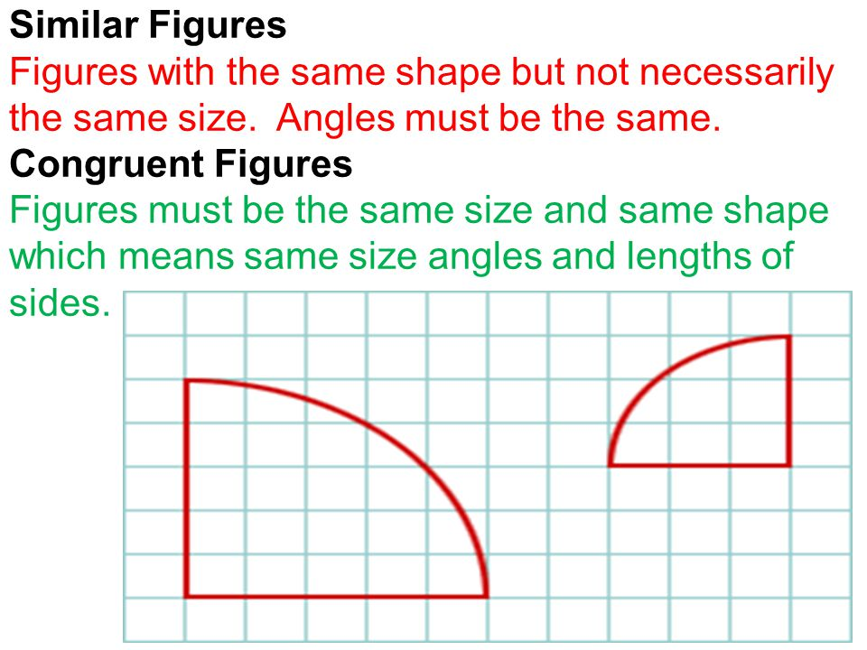 Similar Figures Figures with the same shape but not necessarily the same size.