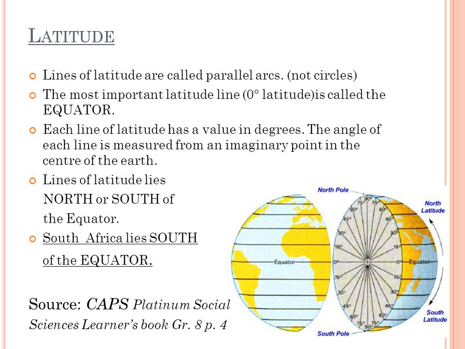 Lines of latitude are called parallel arcs. (not circles) The most important latitude line (0° latitude)is called the EQUATOR. Each line of latitude h