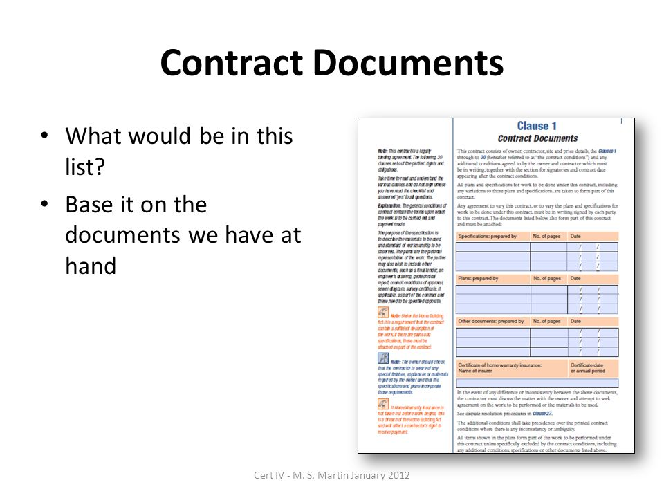 Contract Documents What would be in this list.