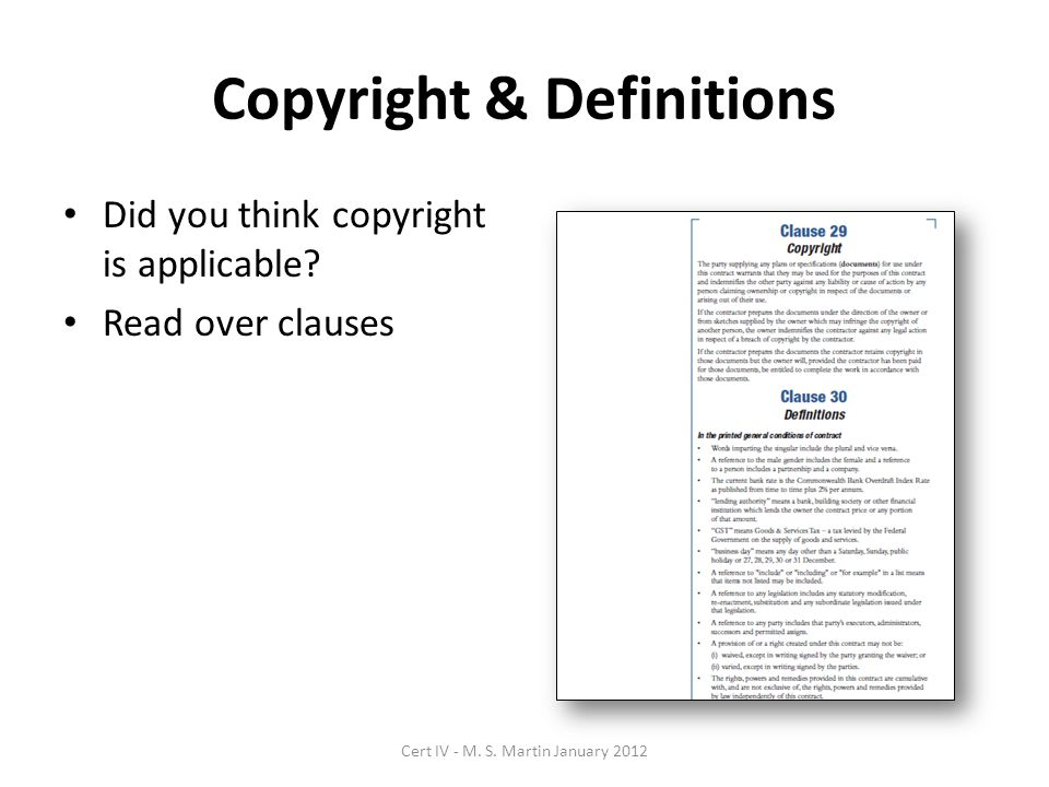 Copyright & Definitions Did you think copyright is applicable.