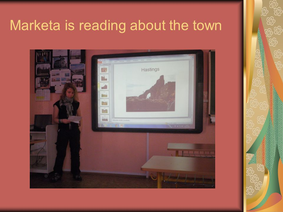 Marketa is reading about the town