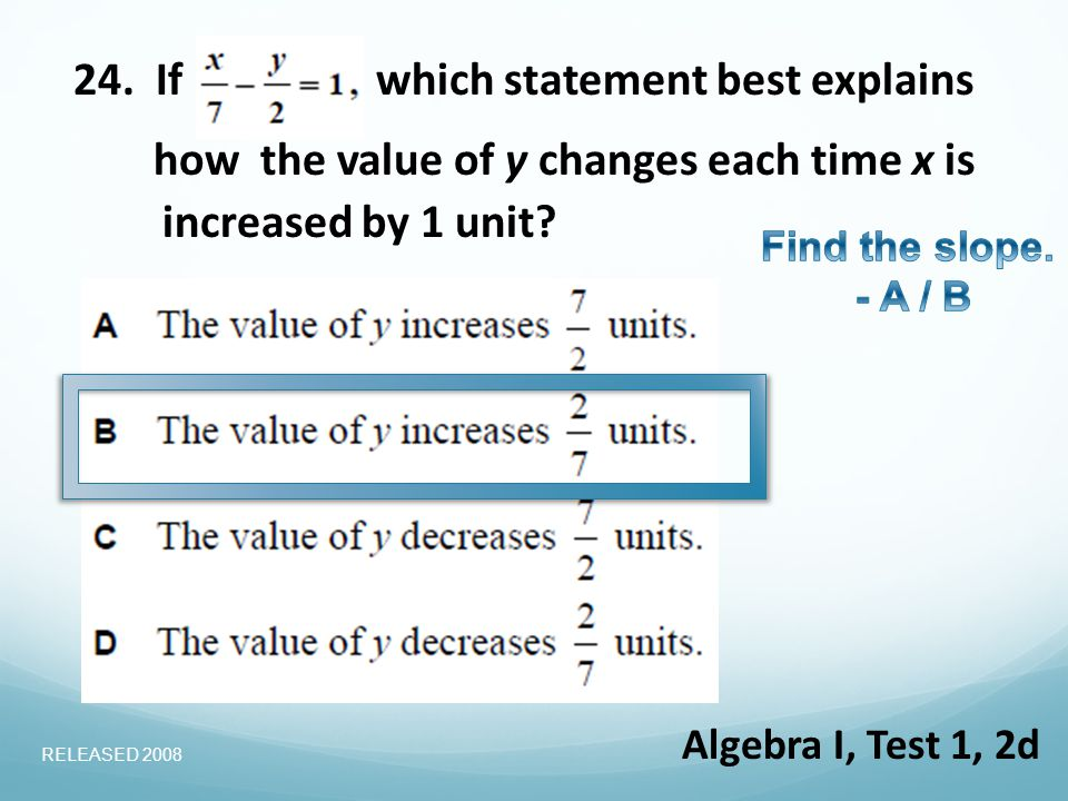 24. Ifwhich statement best explains increased by 1 unit.
