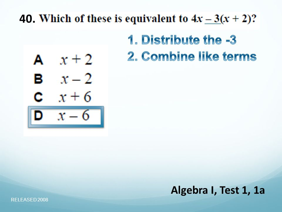 40. Algebra I, Test 1, 1a RELEASED 2008