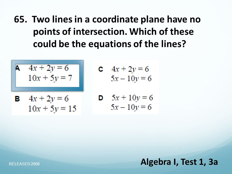 65. Two lines in a coordinate plane have no points of intersection.