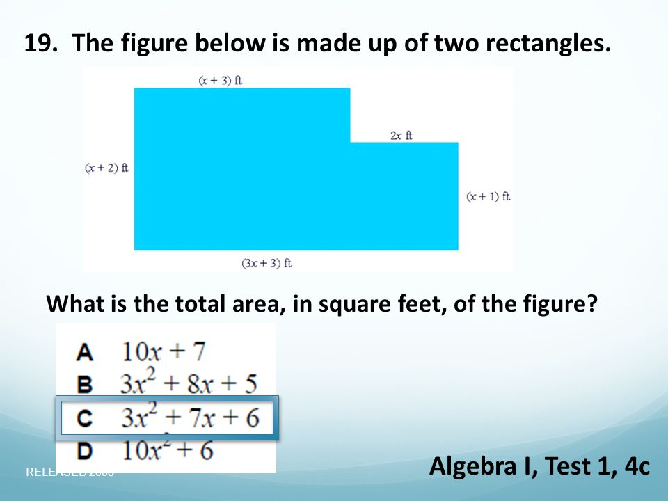 19. The figure below is made up of two rectangles.