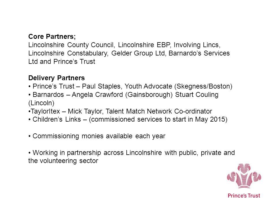 Core Partners; Lincolnshire County Council, Lincolnshire EBP, Involving Lincs, Lincolnshire Constabulary, Gelder Group Ltd, Barnardo's Services Ltd an