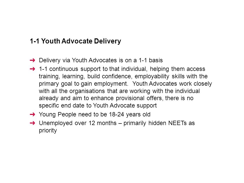 1-1 Youth Advocate Delivery ➔ Delivery via Youth Advocates is on a 1-1 basis ➔ 1-1 continuous support to that individual, helping them access training