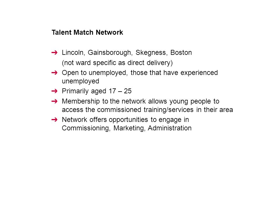 Talent Match Network ➔ Lincoln, Gainsborough, Skegness, Boston (not ward specific as direct delivery) ➔ Open to unemployed, those that have experience