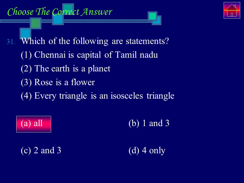 Choose The Correct Answer 31.Which of the following are statements.