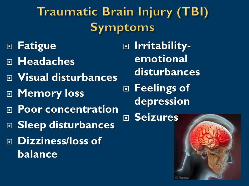  Fatigue  Headaches  Visual disturbances  Memory loss  Poor concentration  Sleep disturbances  Dizziness/loss of balance  Irritability- emotional disturbances  Feelings of depression  Seizures