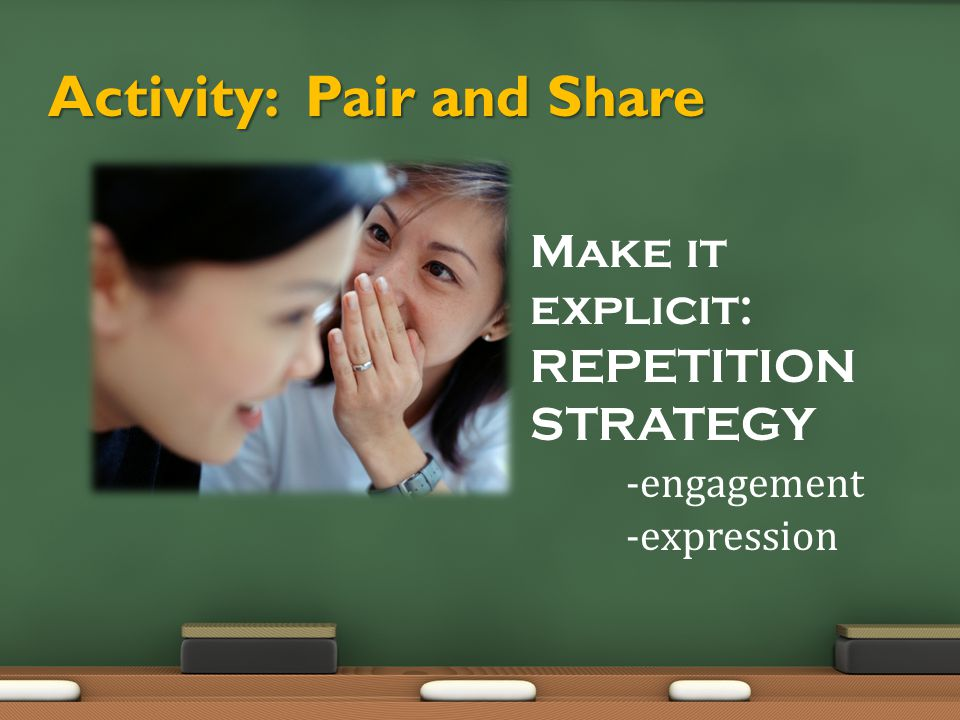 Activity: Pair and Share Make it explicit: REPETITION STRATEGY -engagement -expression