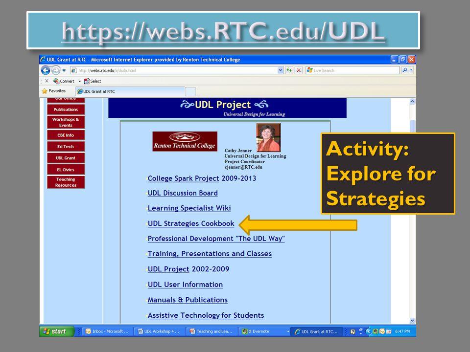 Activity: Explore for Strategies