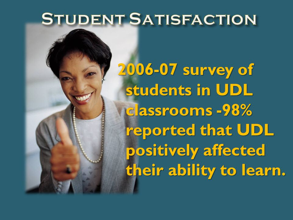 2006-07 survey of students in UDL classrooms -98% reported that UDL positively affected their ability to learn.