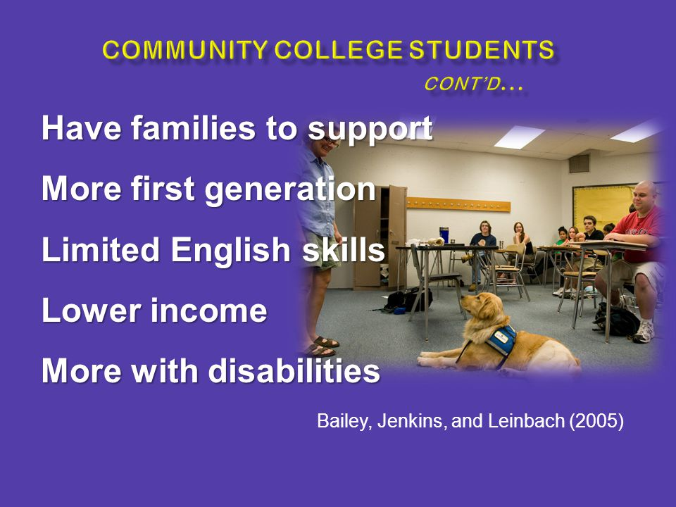 Have families to support More first generation Limited English skills Lower income More with disabilities Bailey, Jenkins, and Leinbach (2005)
