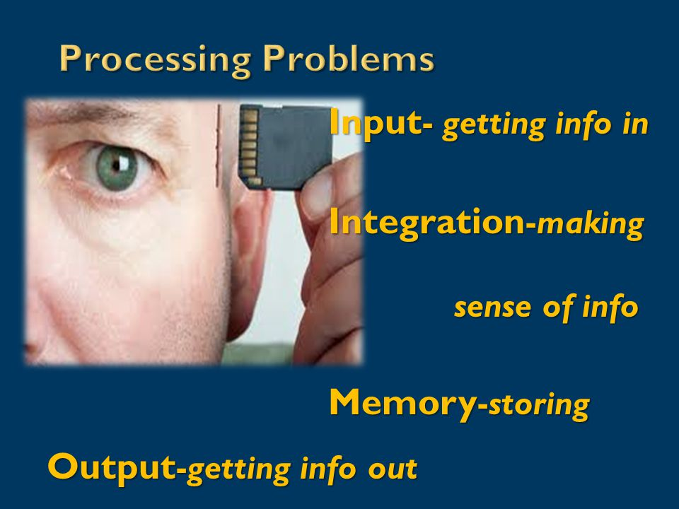 Input - getting info in Integration -making sense of info Memory -storing Output -getting info out