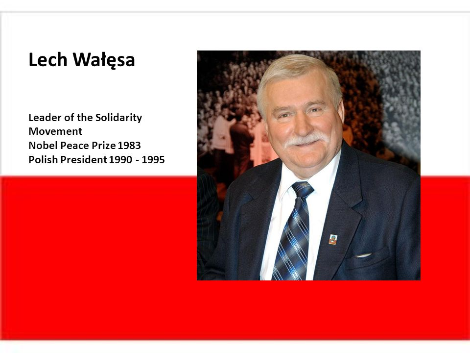 Lech Wałęsa Leader of the Solidarity Movement Nobel Peace Prize 1983 Polish President 1990 - 1995
