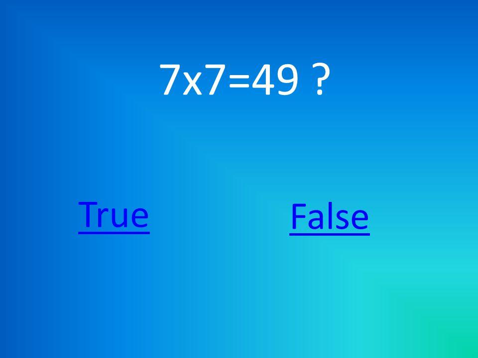 7x7=49 ? True False