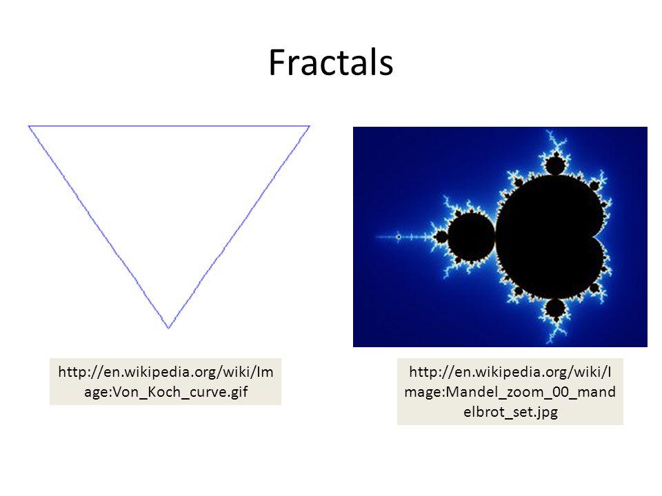 Fractals http://en.wikipedia.org/wiki/I mage:Mandel_zoom_00_mand elbrot_set.jpg http://en.wikipedia.org/wiki/Im age:Von_Koch_curve.gif