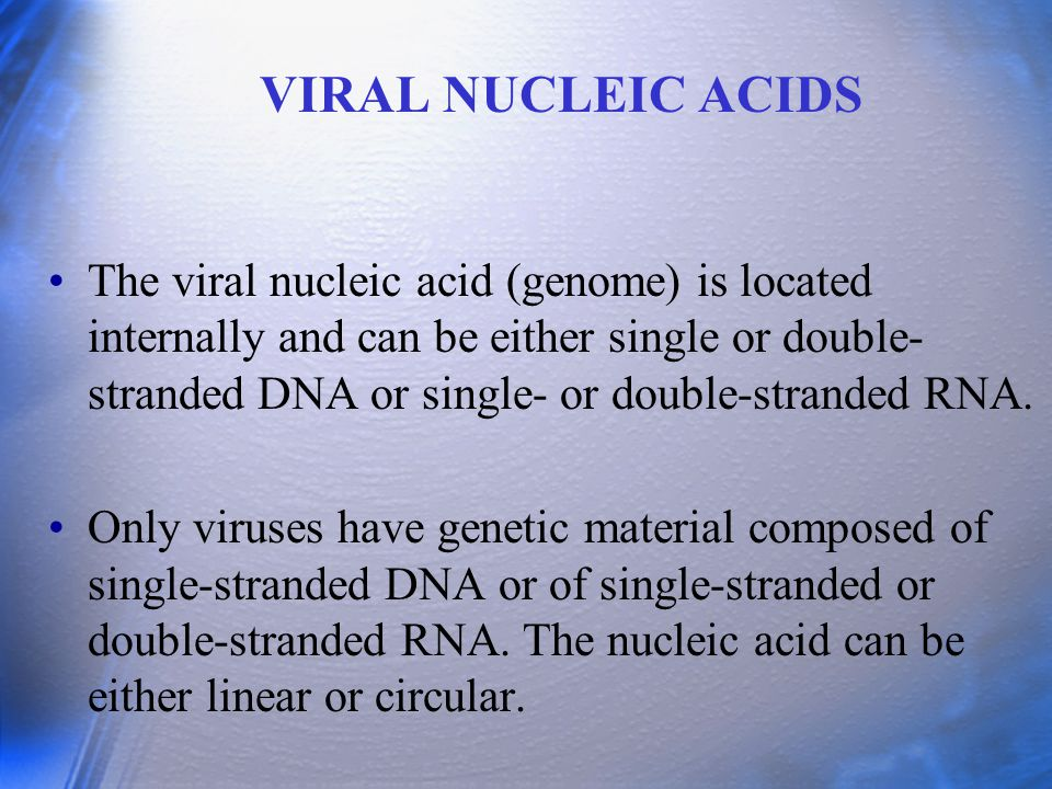 The DNA is always a single molecule; the RNA can exist either as a single molecule or in several pieces.