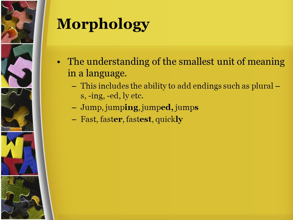 Morphology The understanding of the smallest unit of meaning in a language.